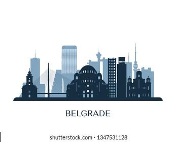 Belgrade skyline, monochrome silhouette. Vector illustration.