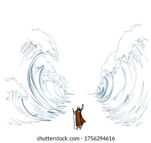 Belief israeli male human leader staff stick stand back view slavery escape go. Vintage israelite art graphic line hand drawn cartoon sketch sky. Big ocean storm separate pesach seder law wonder scene