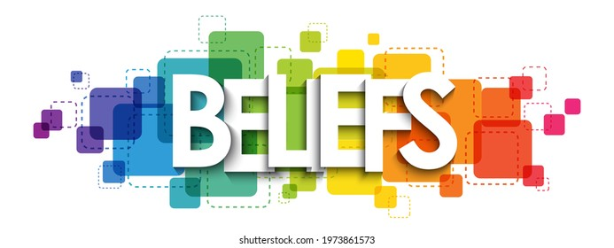BELIEFS colorful rainbow gradient vector typography banner on white background