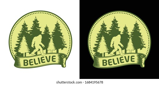 Believe - Bigfoot Printable Vector Illustration