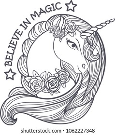 I believe in magic. A beautiful unicorn with roses.