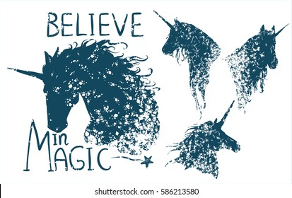 Believe in magic. Cute Motivation card with unicorn silhouette, paint splashes, star. Stylish vintage background with inspirational words. Hand drawn vector illustration with unicorn head collection.