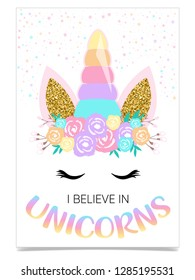 I believe in unicorns, text and unicorn horn drawing / Textile graphic t-shirt print / Vector illustration design - Vector