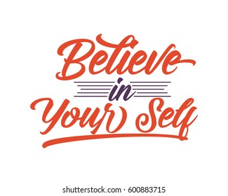 believe in your self words sentence typography typographic writing script image vector icon symbol set