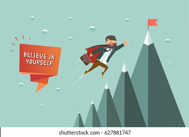 Believe in yourself concept. Superhero man flying to achieve his goal. Mountains with red flag on the top. Colorful vector illustration in flat style