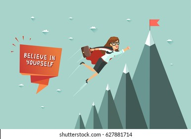 Believe in yourself concept. Superhero woman flying to achieve his goal. Mountains with red flag on the top. Colorful vector illustration in flat design style