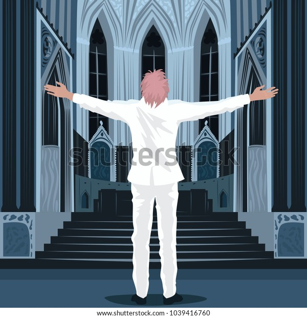 Believing man in white suit spread his arms out to the sides, standing inside Cathedral Church or Catholic Basilica. Simplified realistic hand draw comic art style. Vector illustration