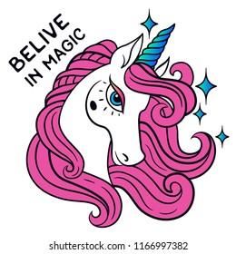 Belive in magic. Unicorn background design