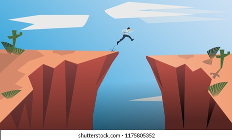 Belive in Yourself and Dare to be Yourself Concept. The Jumping Man Symbolizes the Concept of Determination, Courage, Belief, Enterprise Life, Self-Confidence, Fearless.