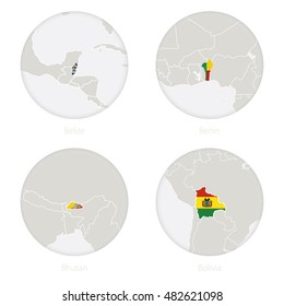Belize, Benin, Bhutan, Bolivia map contour and national flag in a circle. Vector Illustration.