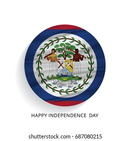 Belize Circle Flag with Lettering Happy Independence Day
