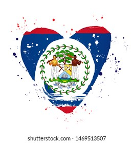Belize flag in the form of a big heart. Vector illustration on a white background. Brush strokes are drawn by hand. Independence Day.