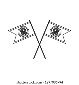 Belize flag icon in black outline flat design. Independence day or National day holiday concept.