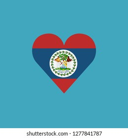 Belize flag icon in a heart shape in flat design. Independence day or National day holiday concept.