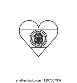 Belize flag icon in a heart shape in black outline flat design. Independence day or National day holiday concept.