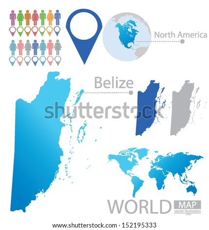 Belize Flag North America World Map Stock Vector Royalty Free