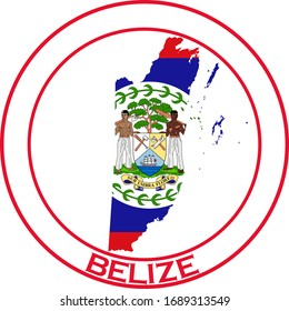 Belize flag on map of country; isolated on white background. Vector logo sticker button