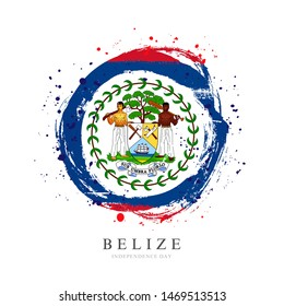 Belize flag in the shape of a big circle. Vector illustration on a white background. Brush strokes are drawn by hand. Independence Day.