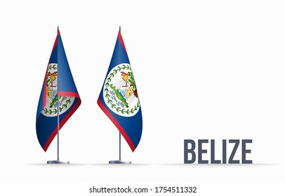 Belize flag state symbol isolated on background national banner. Greeting card National Independence Day of the Republic of Belize. Illustration banner with realistic state flag.