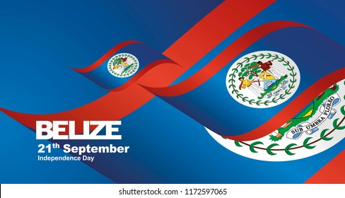 Belize Independence Day flag ribbon landscape background