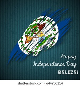 Belize Independence Day Patriotic Design. Expressive Brush Stroke in National Flag Colors on dark striped background. Happy Independence Day Belize Vector Greeting Card.