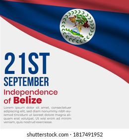 Belize independence day or republic day. vector illustration. Belize flag with independence date. Belize wavy flag.  Belize independence day greeting card template.