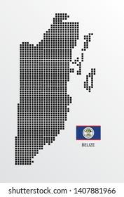 Belize map design square with flag Belize.