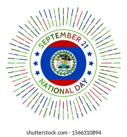 Belize national day badge. Independence from the United Kingdom in 1981. Celebrated on September 21.