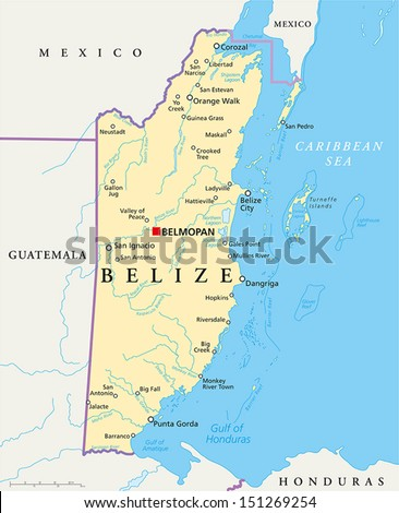 Belize Political Map, Belize Political Map Political Map Of Belize With The Capital Belmopan National Borders, Belize Political Map