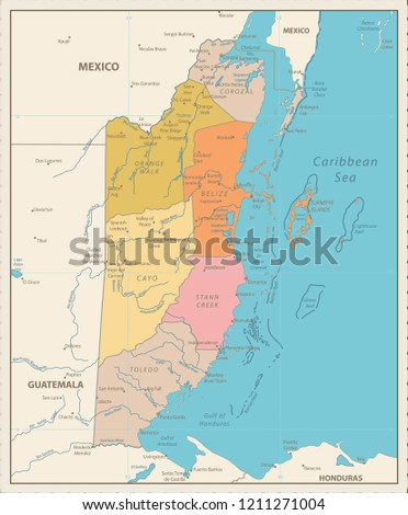 Political Map Of Belize.Belize Political Map Vintage Color Detailed Stock Vector Royalty