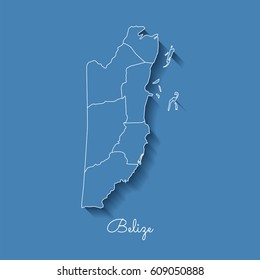 Belize region map: blue with white outline and shadow on blue background. Detailed map of Belize regions. Vector illustration.