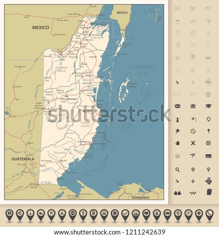 Belize Political Map.Belize Road Map Icons Detailed Political Stock Vector Royalty Free