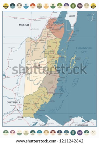 Belize Political Map.Belize Vintage Color Map Round Flat Stock Vector Royalty Free