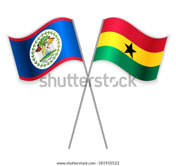 Belizean and Ghanaian crossed flags. Belize combined with Ghana isolated on white. Language learning, international business or travel concept.