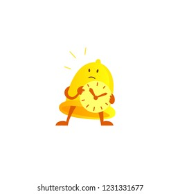 Bell alarm character mascot with a clock in his hands expectation. Call clock signal golden yellow.