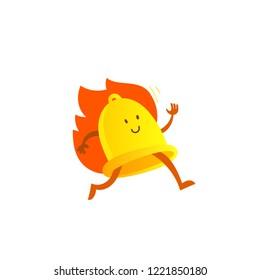 Bell alarm character mascot running on fire. Call clock signal golden yellow.