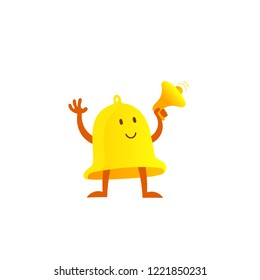 Bell alarm mascot character with loudspeaker. Call clock signal golden yellow with a megaphone.