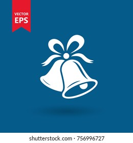 Bell. Christmas, happy new year symbol. Isolated vector icon, sign, emblem, pictogram. Flat style for graphic and web design, logo. Eps10
