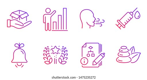 Bell, Graph chart and Medical syringe line icons set. Ranking, Hold box and Breathing exercise signs. Algorithm, Spa stones symbols. Alarm signal, Growth report. Business set. Vector