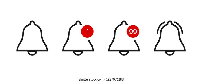Bell icon. Alert notification button. Alarm notice vector sign. Sipmle flat ring message or subscription symbol