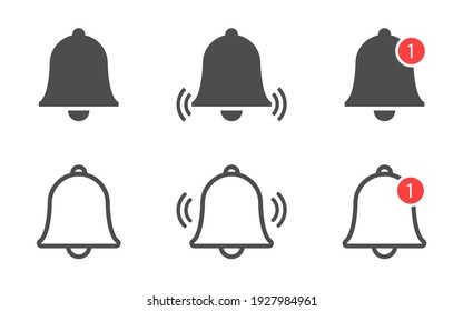 Bell icon collection. Notification bell set. Incoming message symbol. Phone application notice. Alarm clock in flat style for web site or app. Vector illustration.