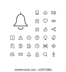 Bell icon in set on the white background. Universal linear icons to use in web and mobile app.