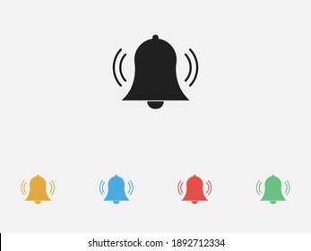 Bell icon vector, Alarm, service handbell sign. Notification icon. Bell ringing icon. Set of colorful flat design icons.