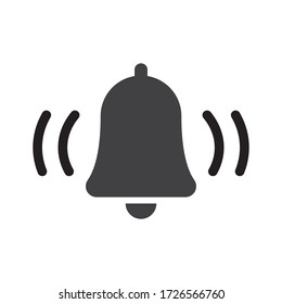 Bell icon, vector illustration alarm. New message symbol, user interface sign.