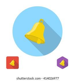Bell icon vector. Set icons bells flat design, long shadow. Christmas, school bell. Celebration symbol. Icon web design.