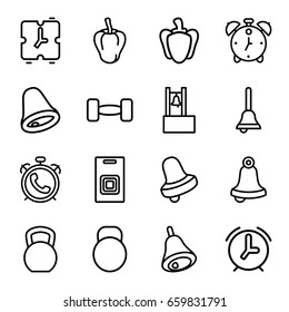 Bell icons set. set of 16 bell outline icons such as alarm, bell