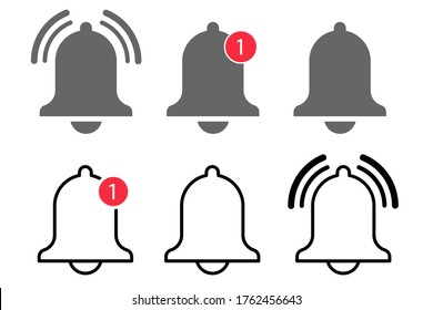 Bell notification icon vector. message alert notice. subscribe reminder attention app. web alarm inbox. mobile phone red button. smartphone social media template. stock illustration set