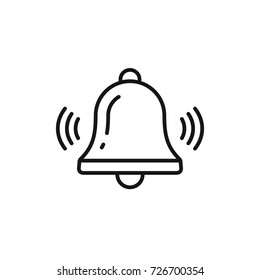 Bell outline icon vector, Alarm, handbell line isolated sign.