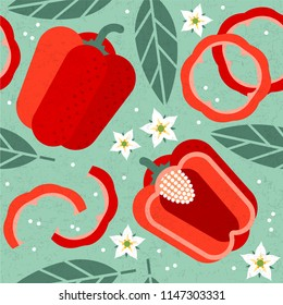 Bell pepper seamless pattern. Whole and sliced red peppers with leaves and flowers on shabby background. Original simple flat illustration. Shabby style.