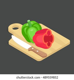 Bell pepper vector illustration. Isometric vegetable on the black background. Two peppers of different colors are on the cutting board.